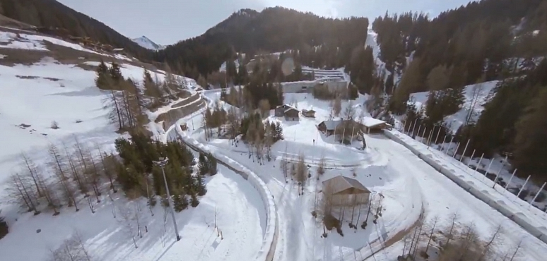 Kevin Roland skis bobsled track!